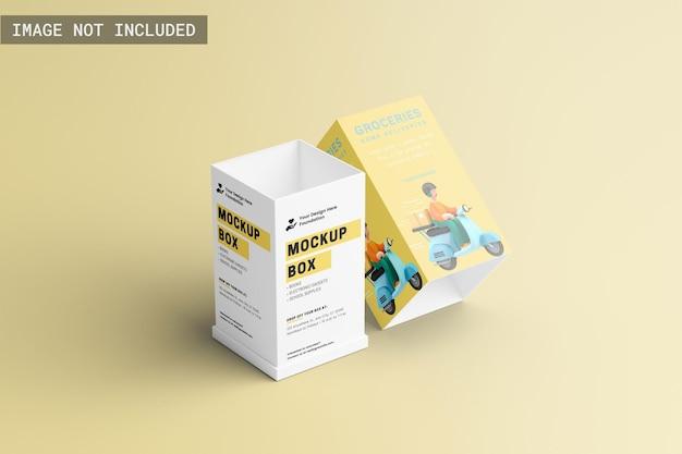Maquete da caixa do produto retangular