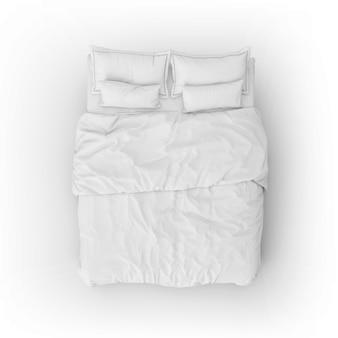 Maquete da cama com lençóis e travesseiros brancos