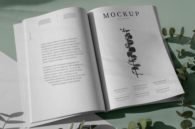 Maquete da capa da revista da natureza com variedade de folhas