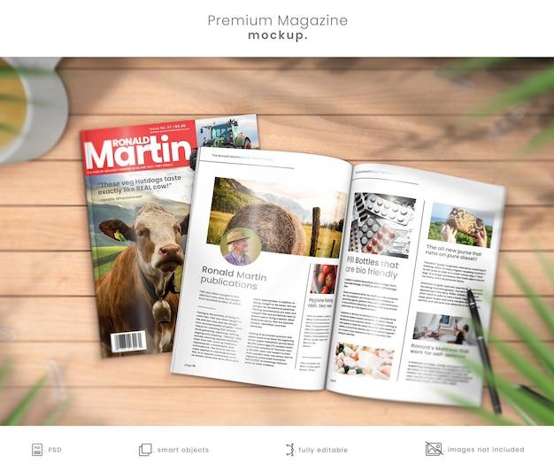 Maquete da capa da revista e revista aberta