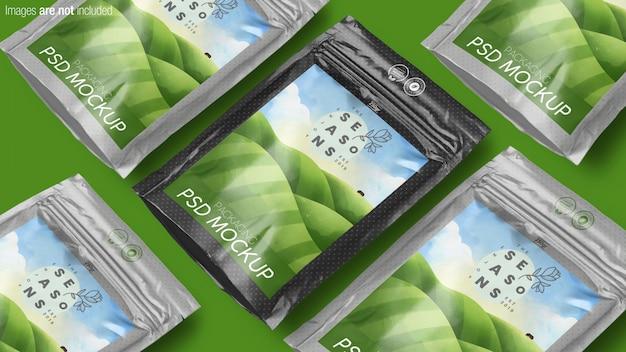 Maquete da cena da coleção de embalagens de produtos doypack