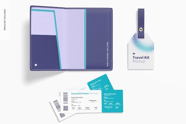 Maquete da cena do kit de viagem, vista superior