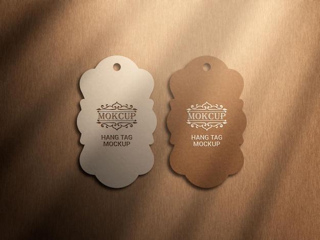 Maquete da etiqueta pendurada com sombra elegante