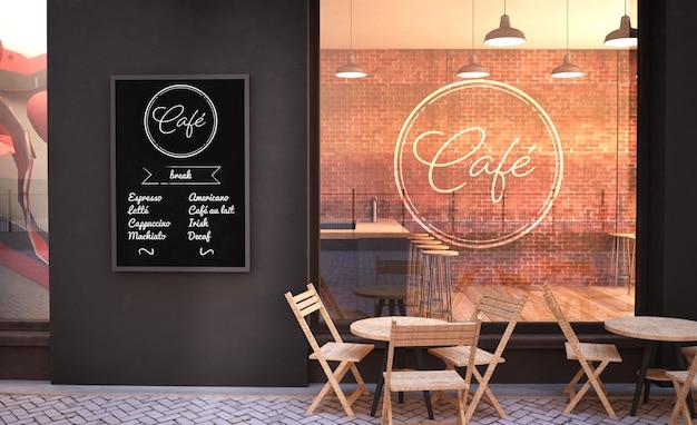 Maquete da fachada do café com parede de vidro e renderização em 3d do pôster