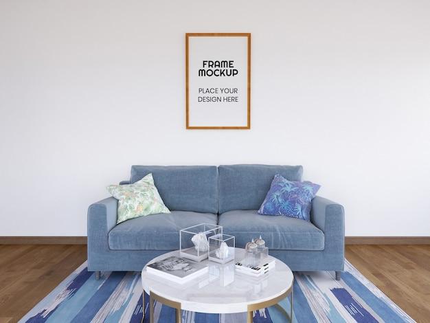 Maquete da foto da moldura da sala de estar interna