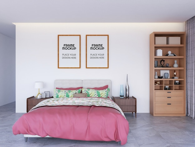 Maquete da foto da moldura do quarto