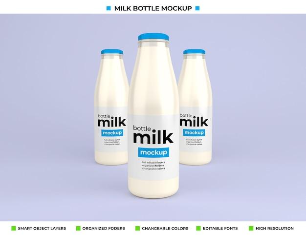Maquete da garrafa de leite de vidro para a embalagem do produto