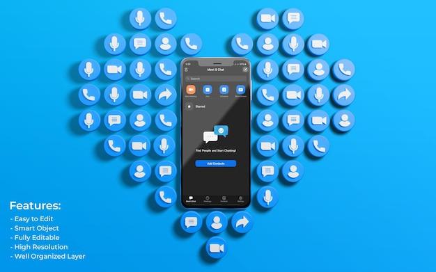 Maquete da interface de zoom cercada por 3d, como o ícone de amor e comentário