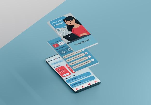 Maquete da interface do aplicativo de mídia social
