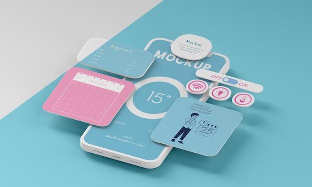 Maquete da interface do usuário do telefone celular