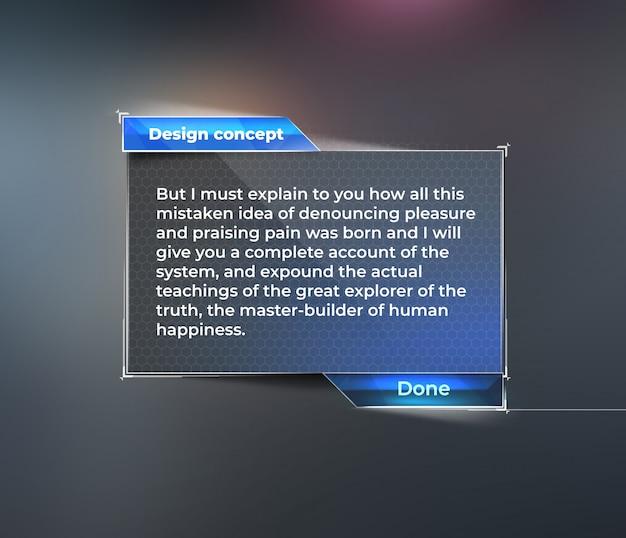 Maquete da interface do usuário, painel de instrumentos para o texto.