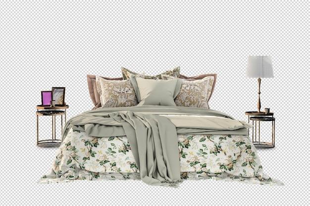 Maquete da lâmpada da cama em renderização 3d isolada