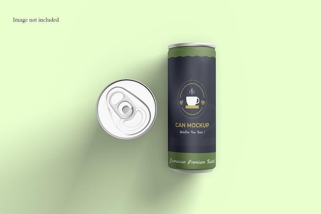 Maquete da lata de refrigerante da vista superior