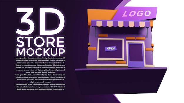 Maquete da loja 3d de todas as direções
