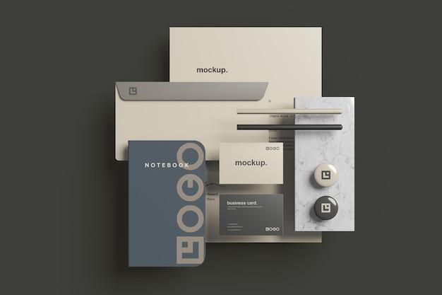 Maquete da marca corporativa para papelaria, vista superior