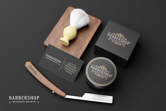 Maquete da marca da barbearia em tema escuro