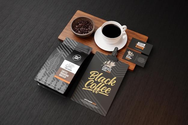 Maquete da marca de café em tema preto