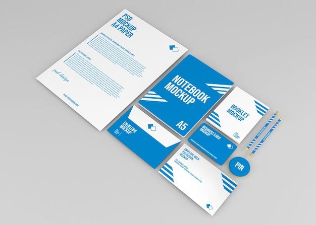 Maquete da marca do conjunto de papelaria corporativa