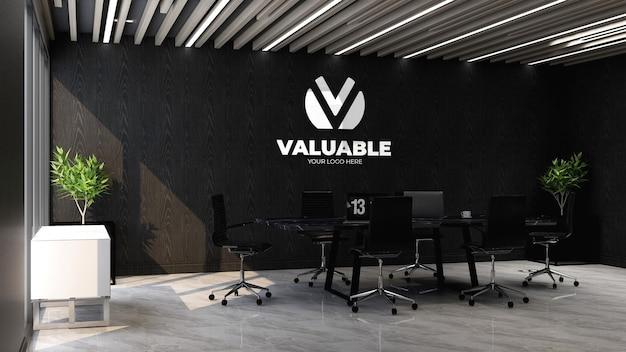 Maquete da marca do logotipo 3d no espaço de reunião do escritório com o laptop na mesa