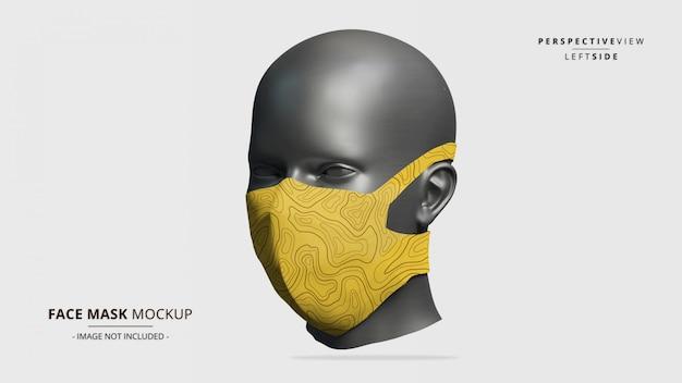 Maquete da máscara facial vista em perspectiva do lado esquerdo - manequim feminino