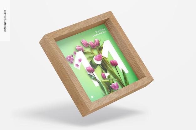 Maquete da moldura da caixa para fotos, flutuante