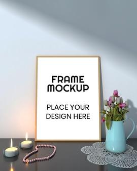 Maquete da moldura da foto da sala de estar interna com vela e flor