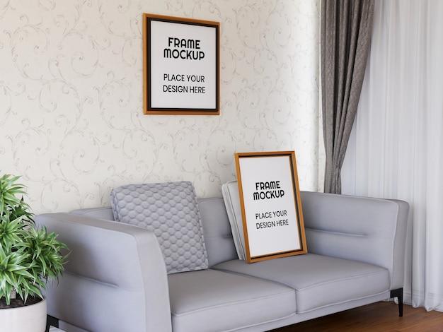 Maquete da moldura da foto da sala de estar interna