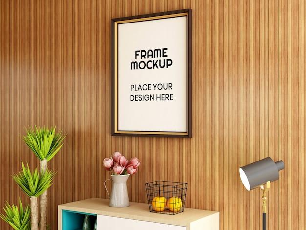 Maquete da moldura da foto da sala de estar