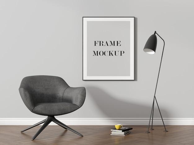 Maquete da moldura da parede ao lado da lâmpada preta moderna