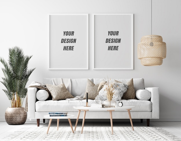 Maquete da moldura da sala de estar interna