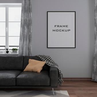 Maquete da moldura da sala de estar moderna no interior premium psd