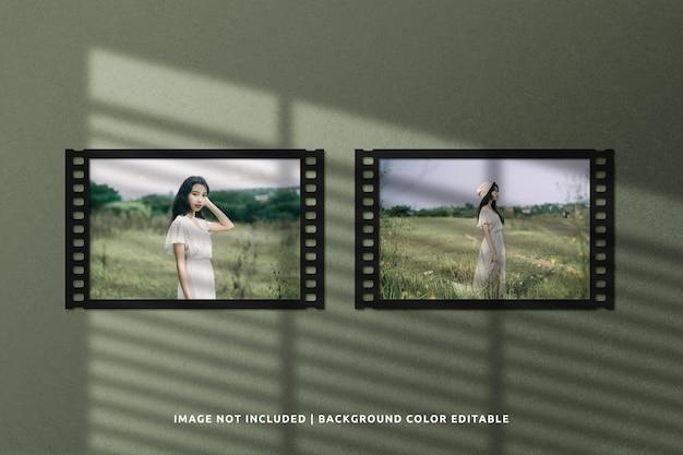 Maquete da moldura de papel de filme clássico com paisagem dupla