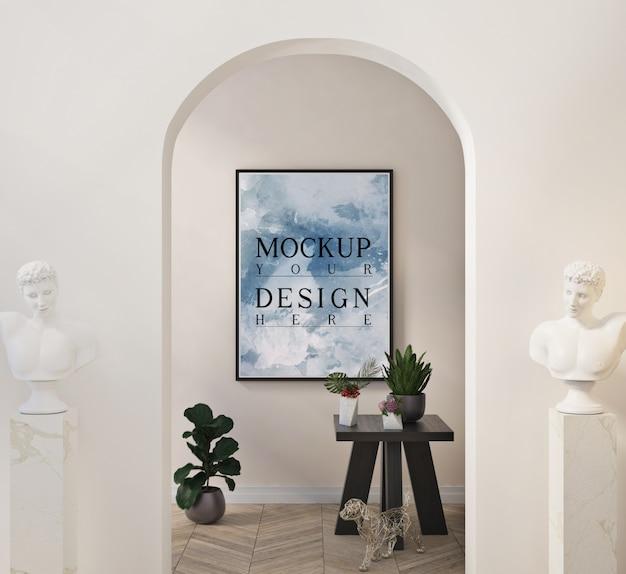 Maquete da moldura de pôster em uma sala de estar clássica moderna