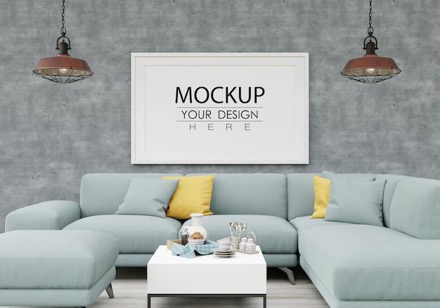 Maquete da moldura do pôster na sala de estar