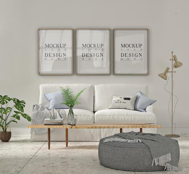 Maquete da moldura do pôster no interior branco da sala de estar