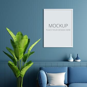 Maquete da moldura na sala de estar azul