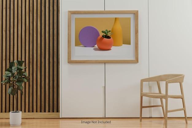 Maquete da moldura no interior da sala de estar