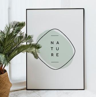 Maquete da moldura preta da natureza com folhas de palmeira