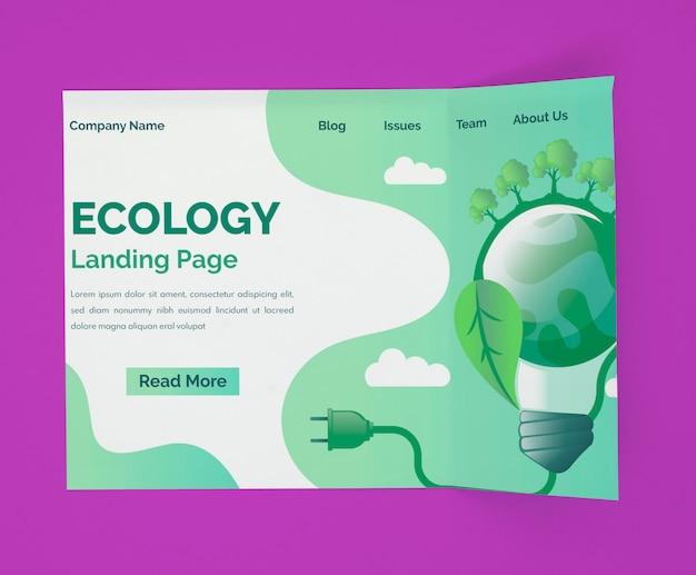 Maquete da página de destino da ecologia