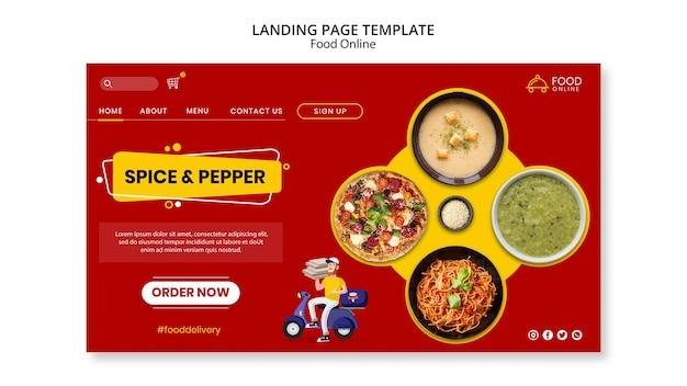 Maquete da página de destino do conceito online de alimentos