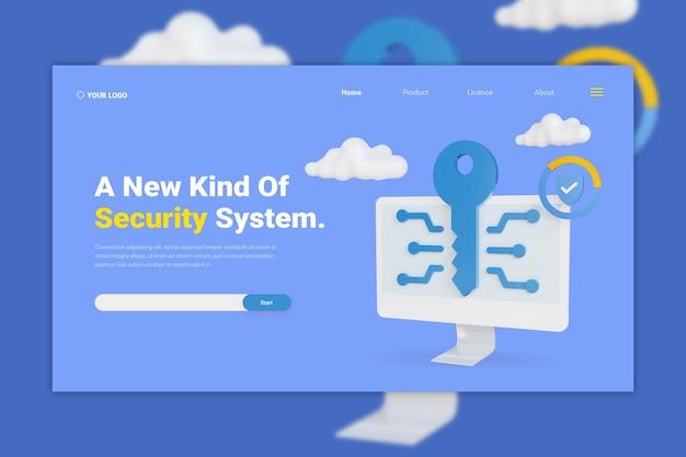 Maquete da página de destino do sistema de segurança