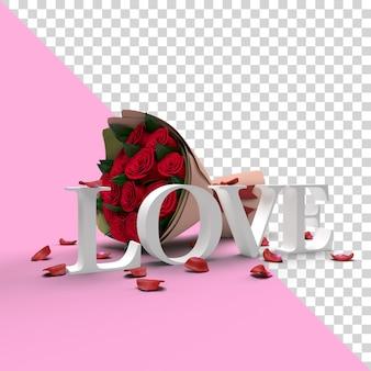 Maquete da palavra de amor 3d dos namorados com flores e pétalas