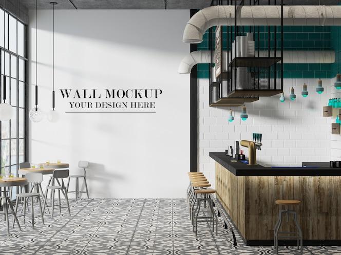 Maquete da parede da cafeteria em renderização em 3d
