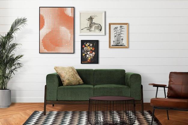 Maquete da parede da galeria pendurada no interior da decoração da casa de um quarto retrô