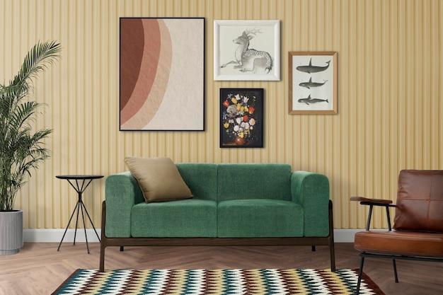 Maquete da parede da galeria psd pendurado no interior do quarto retrô