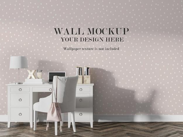 Maquete da parede da sala atrás de móveis brancos