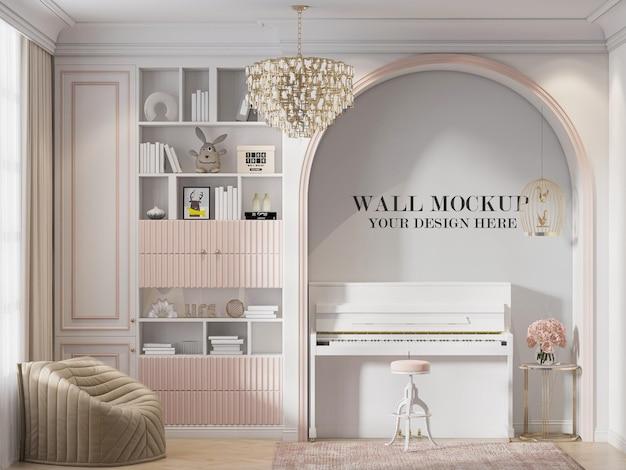 Maquete da parede da sala de estar atrás do piano