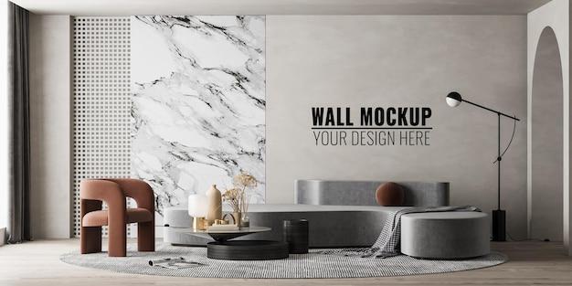 Maquete da parede da sala de estar interna