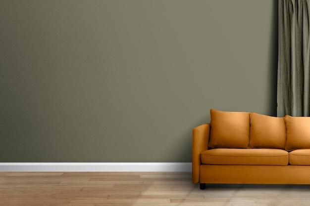 Maquete da parede da sala de estar psd design de interior moderno