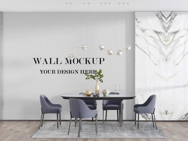 Maquete da parede da sala de jantar iluminada atrás da mesa de jantar conjunto renderização 3d